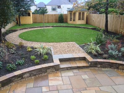 Sandstone Paving Circle And Circular Lawn - Almond Landscapes